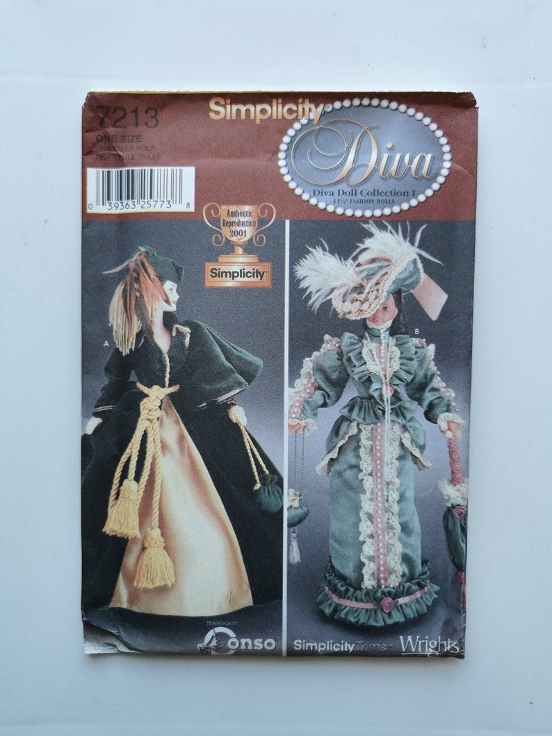 Simplicity 7213 Diva Doll Collection UNCUT Sewing Pattern for Fashion Doll Gowns Barbie Clothes Barbie Historical Dress Pattern