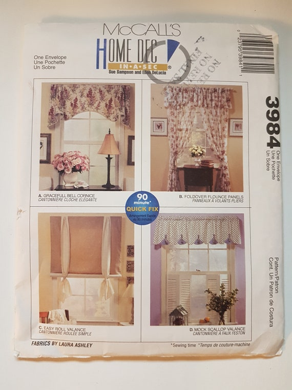 Uncut Sewing Pattern For Curtains Bell Cornice Flounce Etsy
