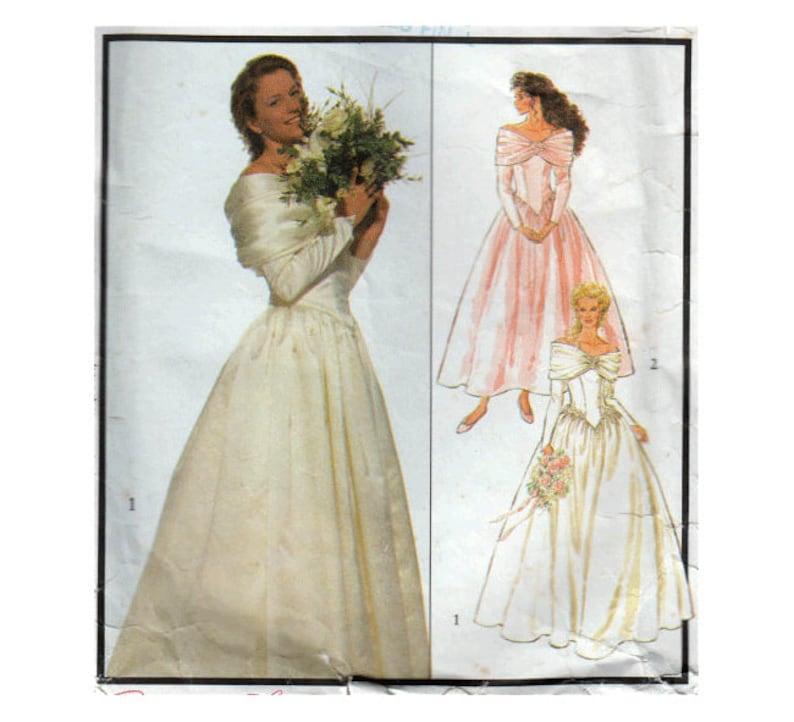 ef2b6ebd188276 Vintage bruiloft jurk naaien patroon uit de schouder Baskische