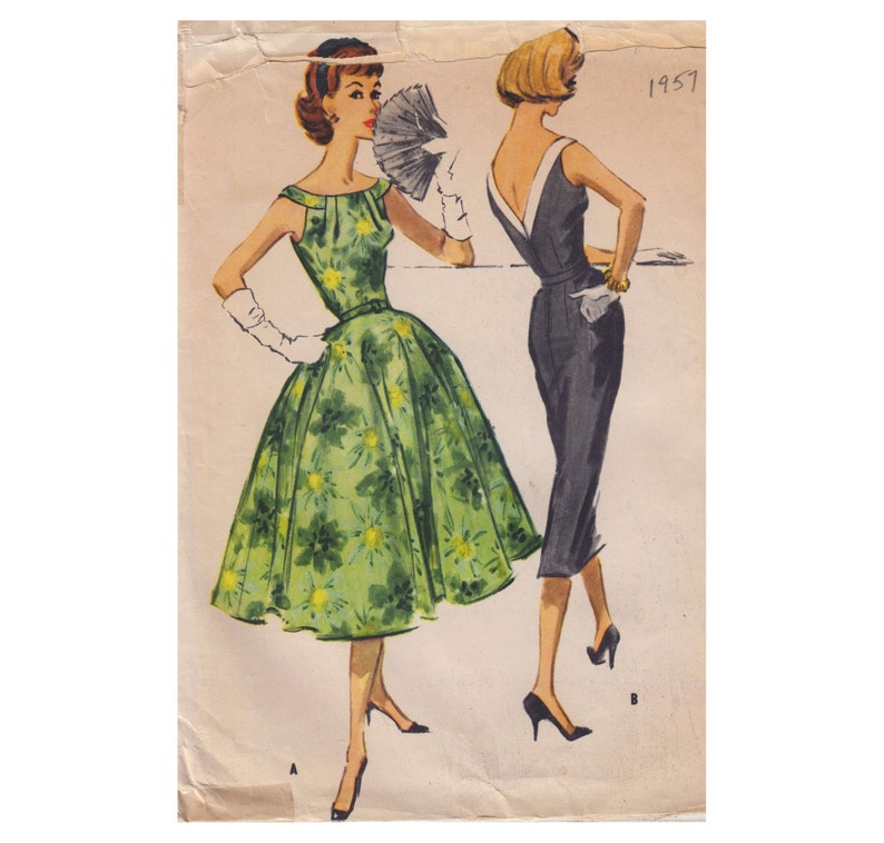 50s Cocktail Dress Vintage Sewing Pattern Low Back Sleeveless image 0