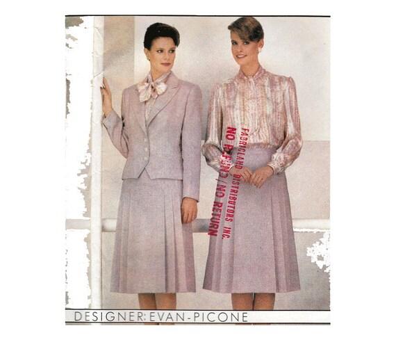 Womens Suit Bow Blouse Tailored Jacket Evan Picone Secretary Etsy