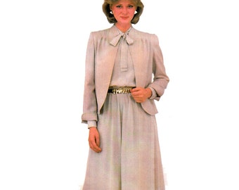 """Women's Jacket And Dress Sewing Pattern Tucked Front Jacket with Shaped Hemline Dress Suit 80s Size 14 Bust 36"""" (91 cm) McCall's 8269 S"""