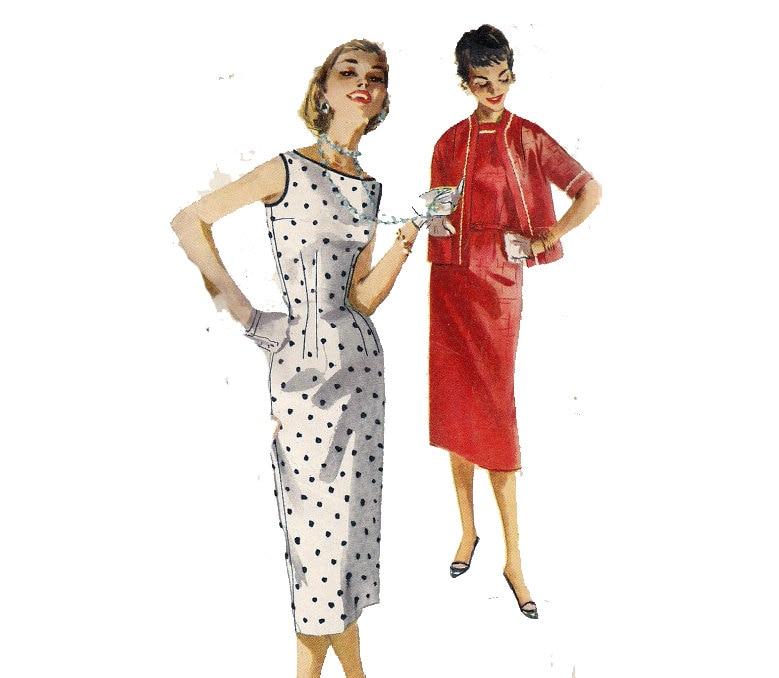 50s del vestido coser patrón Bateau cuello meneo sin mangas | Etsy