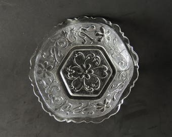 Anchor Hocking Candy Dish, Vintage Tableware, Vintage Glass Bowl, Pressed Glass, Small Serving Bowl, Patterened Glass, 1950s