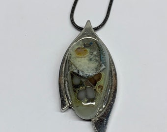 Fused Glass Pendant, Reactive Glass, Brown, Gray, White, Necklace, Each