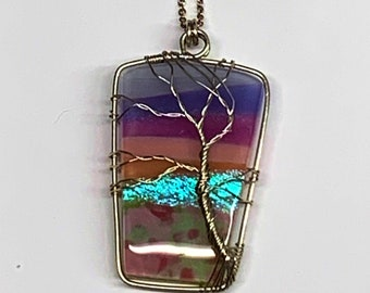 Handcrafted Pendant Necklace, Fused Glass, Stainless Steel Wire, Hand Wrapped, Purple, Pink, Dichroic, Tree of Life Pendants, Each