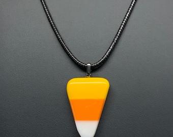 Candy Corn Pendant, Fused Glass, Yellow, Orange, White, Halloween Pendant Necklace