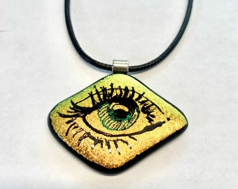 Fused Glass Eye Pendant, Rainbow, Fused Dichroic Glass, ICU, Necklace, Each