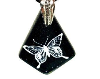 Handcrafted Necklace, Butterfly, Blue, White, Fused Glass, Each
