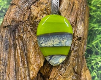 Fused Glass Pendant, Lime Green Abstract Reactive Glass, Necklace, Each