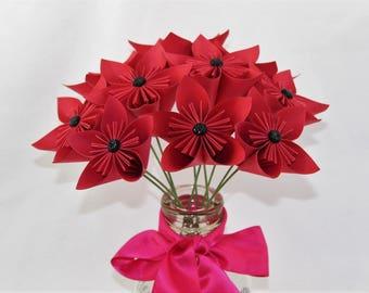 Origami flowers etsy paper flower arrangement origami flowers red paper flowers mightylinksfo