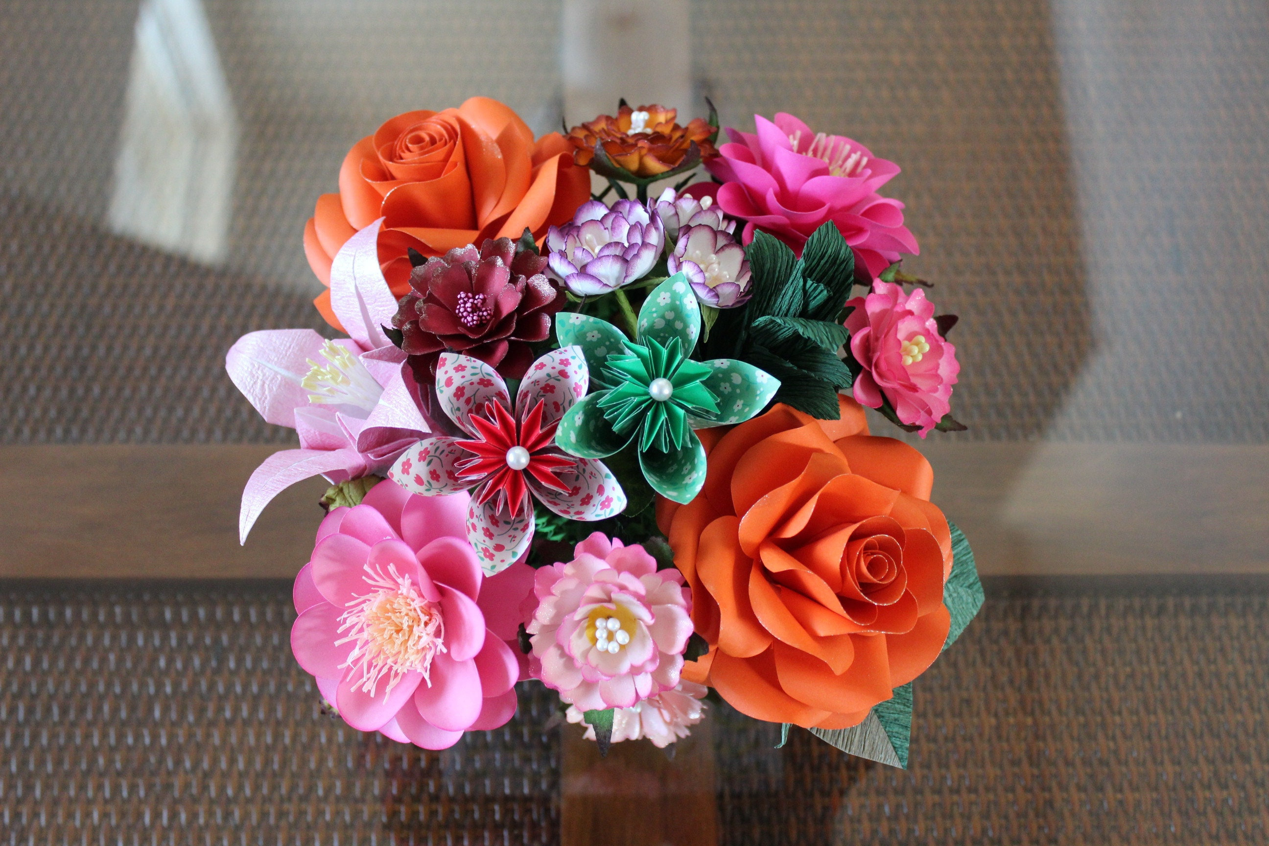 Paper Flower Arrangement Paper Flower Centerpiece Origami Etsy