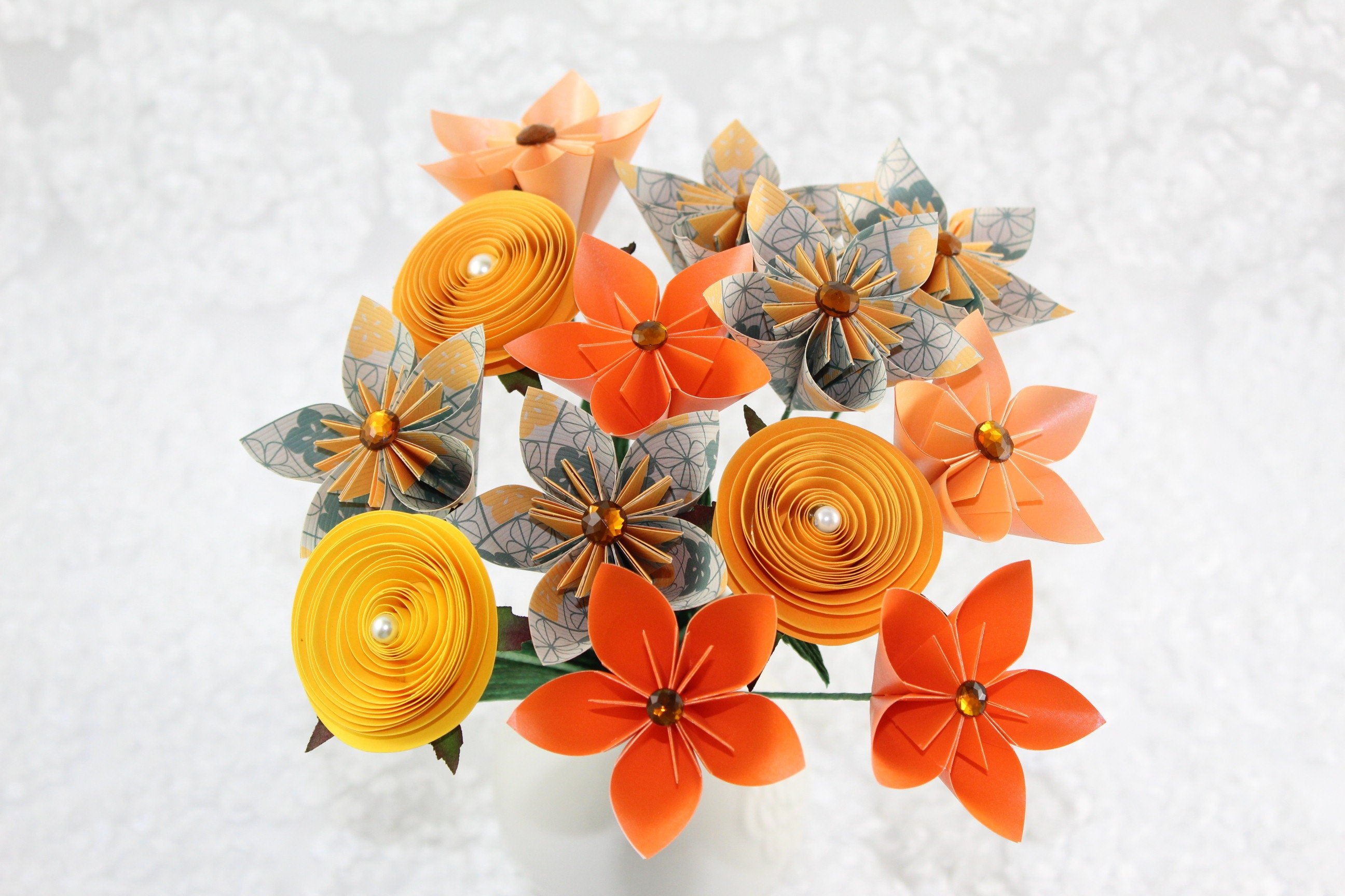 Paper Flower Arrangement Origami Flower Bouquet Orange Etsy