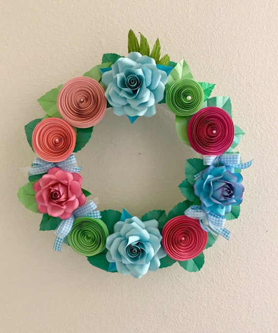 Paper Flower Wreath Paper Flowers Home Decor Etsy