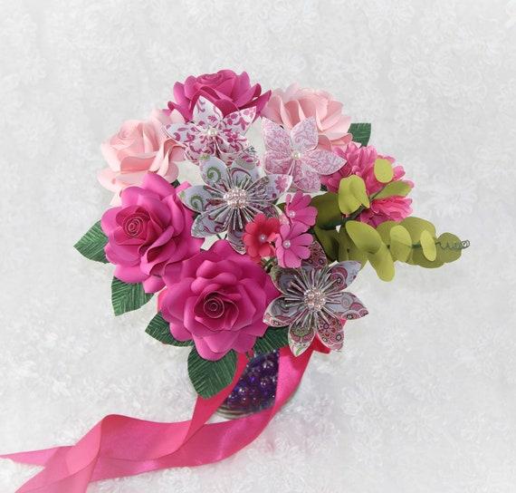 Paper Flower Bouquet Origami Flower Bouquet Anniversary Flower Mother S Day Flowers Paper Flower Graduation