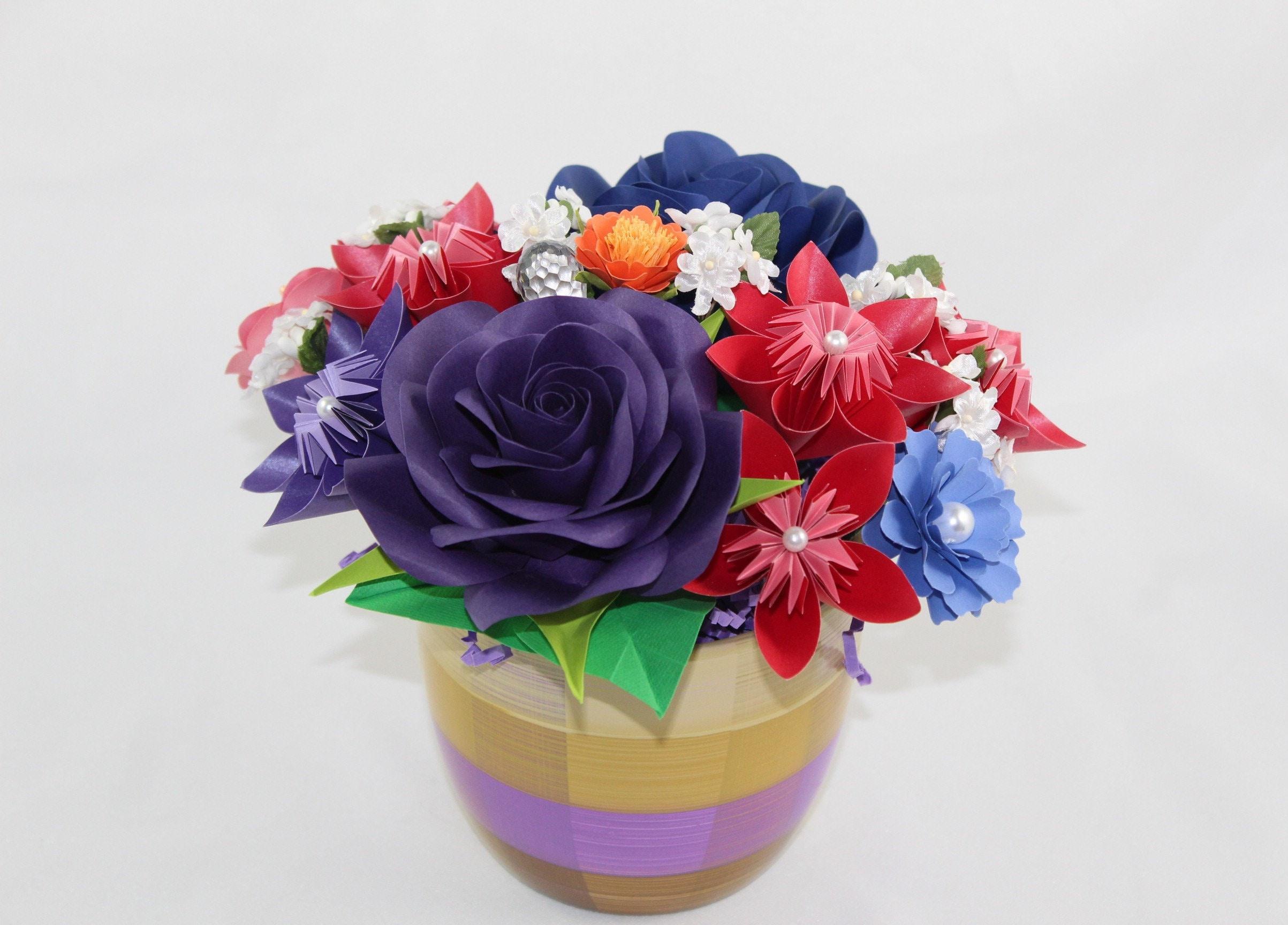 Paper Flowers Arrangements Origami Table Flower Arrangements Etsy