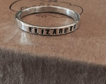 rustic hand forged fine silver handstamped personalized ring mother's ring stacking ring couples ring friendship ring