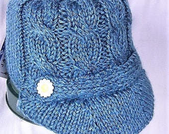 Hand Knit Blue Newsboy Cap, Brimmed Cabled Hat,