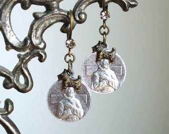 Lost And Found Dog Earrings -  Vintage Saint Francis Saint Anthony Charms