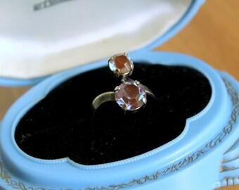 Saphiret Meet Saphirine - Vintage Glass Saphirine Antique Saphiret - Adjustable Ring