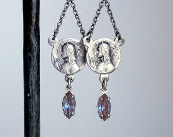 Saint Joan Of Arc Saphiret  Swords Earrings