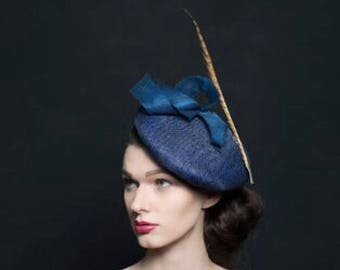 Navy wedding hat, oversized navy beret/hat. With gold feather and navy twist. Its perfect for weddings guest or mother of bride