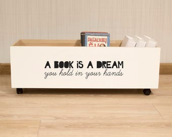 "Kid's Wood Bookshelf, ""A Book Is a Dream"", Kid's Bookshelf, Kids Reading Nook, Nursery / Children's Bookshelf, Book storage, Nursery Decor"