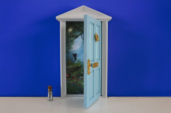 Dark Blue Fairy Door With Fairy Dust /& Magic Key