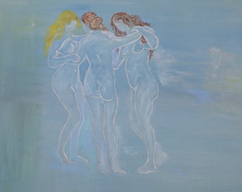Three nude women large oil painting-The Three Graces-Rubens like-Female portrait Canvas Wall Art-Original art-Silhouettes art.FREE SHIPPING