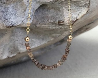 Earthy Red Diamond Necklace in Gold or Silver