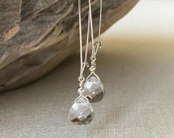 Clear Swarovski Crystal Hoop Earrings in Gold or Silver