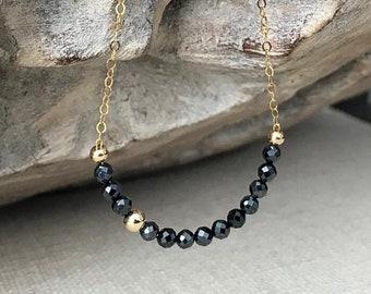 Dainty Black Spinel Necklace