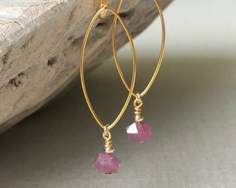 Ruby Dangle Earrings in Gold or Silver