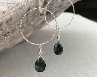 Silver Emerald Dangle Hoop Earrings