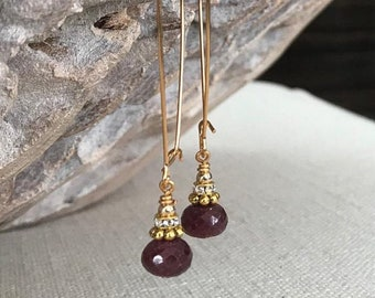 Long Gold Ruby Hoop Earrings