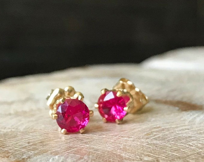 Featured listing image: Ruby Stud Earrings in Gold or Silver