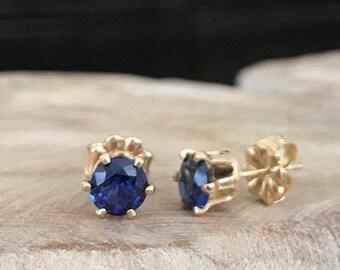 Blue Sapphire Stud Earrings