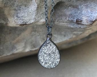 Raw Oxidized Silver Druzy Necklace