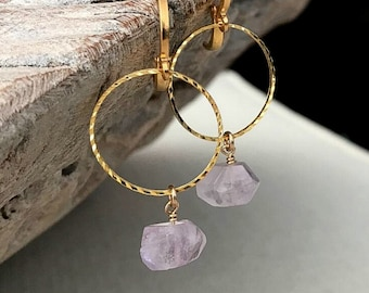 Raw Amethyst Hoop Earrings