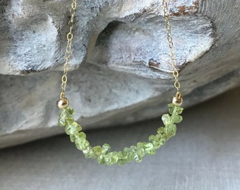 Dainty Peridot Necklace in Gold or Silver