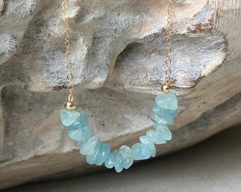 Natural Raw Aquamarine Necklace in Gold or Silver