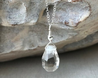 Diamond Cut Clear Quartz Necklace in Gold or Silver