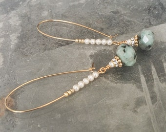Gold Kiwi Jasper & Pearl Hoop Earrings