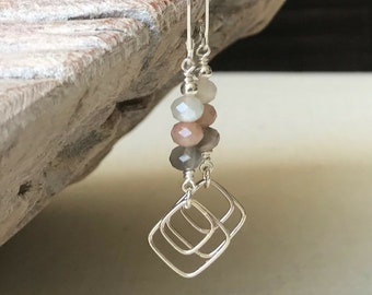 Sterling Silver Multi Color Moonstone Earrings