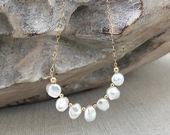 White Keshi Pearl Necklace in Gold or Silver