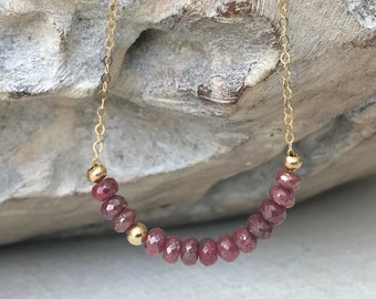 Dainty Ruby Necklace in Gold or Silver