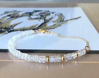 Moonstone Bracelet in Gold or Silver