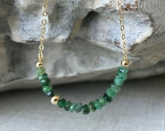 Natural Petite Emerald Necklace in Gold or Silver