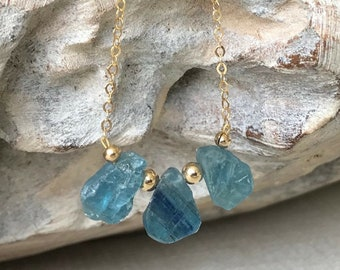 Raw Kyanite Teardrop Necklace in Gold or Silver