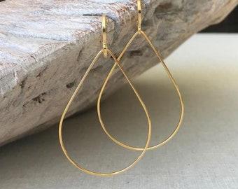 Large Teardop Hoops in Gold or Silver